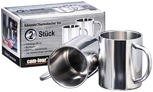 com-four® 2x Taza de café de acero inoxidable - 280 ml - Taza termo-bebedora hecha de acero inoxidable de alta calidad - Cafetera irrompible - Copas aisladas de doble pared - LIBRE DE BPA