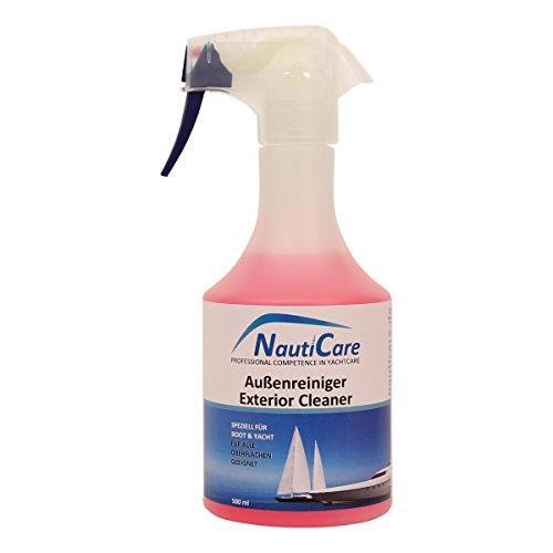 NautiCare Bootsreiniger Außen - 500ml Spray - Reiniger für GFK, Gelcoat, Edelstahl, lackiertes Holz, Lack, Kunststoff, Plexiglas - Boot Yacht Reinigung - Cp-holz