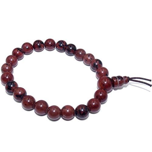 Imagen de pulsera en obsidiana caoba roja natural piedras + caja de regalo, redondas de 8 mm para hombres y mujeres  elástico resistente  mala budista tibetano
