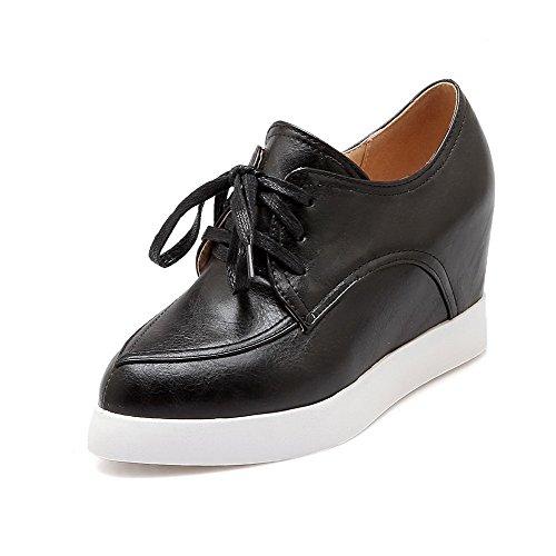 VogueZone009 Femme Couleur Unie Pu Cuir à Talon Haut Pointu Lacet Chaussures Légeres Noir