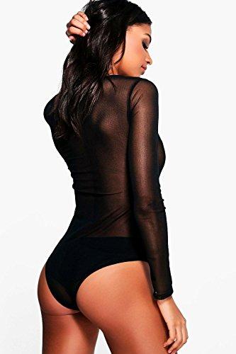 Noir Femmes Ellie Body En Tulle À Sequins Appliqués Noir