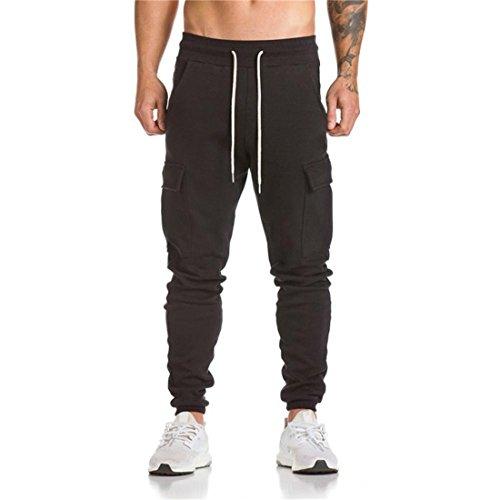 Btruely Herren Sporthosen Beiläufig Jogginghose Tanzen Sportkleidung Ausgebeult Slim Entworfen Pants Retro Männer Hosen (L, Schwarz)