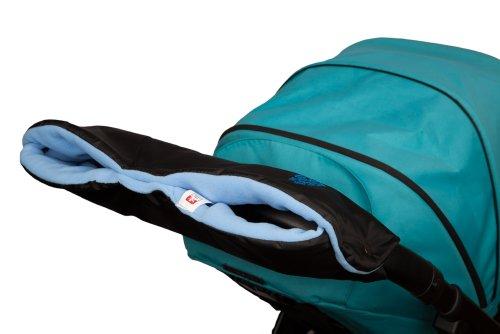Kinderwagen Handwärmer Muff mit Fleece-Innenseite, eine Größe für Kinderwagen, Buggy, Fahrradanhänger. Schwarz – Baby Blau