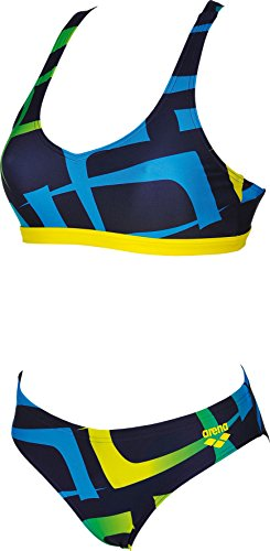 arena Scrawl Two-Pieces Swimsuit Women navy-yellow star Größe DE 44 | US 40 2018 Bikini