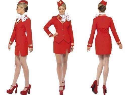 Plus Size Stewardess Kostüm (Rot, Stewardess Virgin Damen-Kostüm Sexy Henne, aus Holz, alle)
