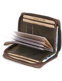 Porte-cartes avec fermeture éclair et poche pour les factures format portrait LEAS, cuir véritable, marron - ''LEAS Vintage-Collection''