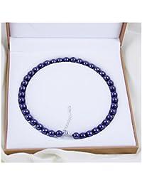 Schmuckwilly Muschelkernperlen Perlenkette Perlen Collier - dunkel blau Hochwertige Damen Halskette aus echter Muschel 10mm mk10mm015