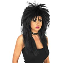 Long 80s Glam Rock Wig rose Red Blue Black Halloween Fancy Dress Costume S  Hair False 04f5acaba8e