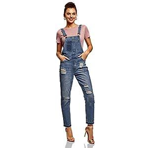oodji Ultra Damen Jeans-Latzhose im Flickendesign