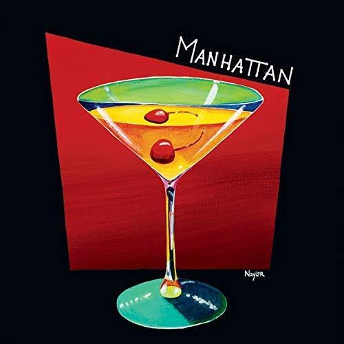 Rahmen-Kunst Keilrahmen-Bild - Mary Naylor: Manhattan Leinwandbild Cocktail Glas Bar Drink Bunt Manhattan Drink-glas