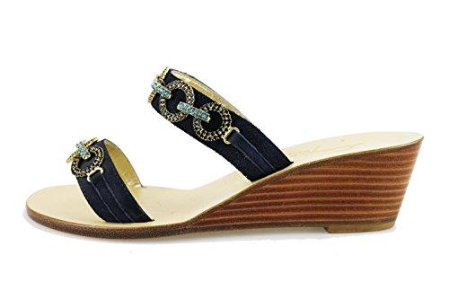 CAPRI sandali donna 36 EU blu camoscio AG569-B
