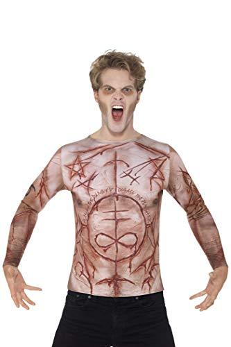 Smiffy's 45584L - Verstümmelte Haut T-Shirt Fleisch mit Sublimationsdruck (Fleisch Fancy Dress Kostüm)