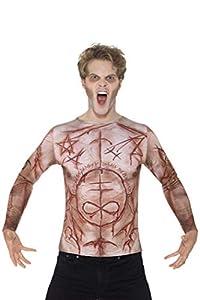 Smiffys Camiseta de Piel mutilada, Carne, con impresión en sublimación