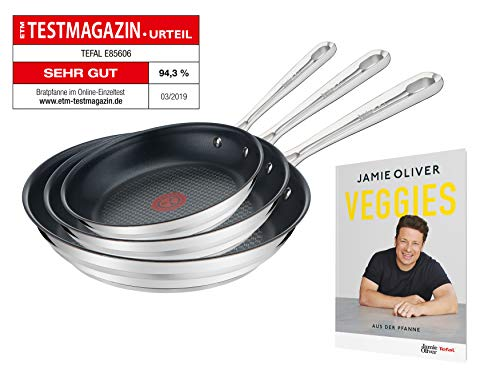 Tefal E011S3.VEG Special Edition Jamie Oliver Brushed Pfannenset, 3-teilig, bestehend aus 20 cm (E85602), 24 cm (E85604) und 28 cm (E85606), inkl. exklusivem Jamie Oliver Veggie Rezeptheft