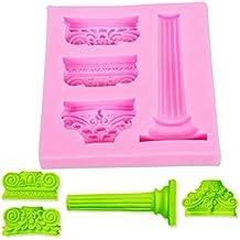 PENVEAT - Moldes para tartas de fondant, columna romana y alivio de chocolate, herramienta