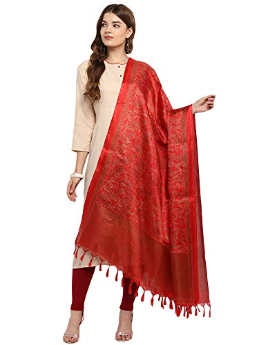 Applecreation Women'S Khadi Silk Dupatts With Jhallar (Freesize_Red_Khdpt107A)