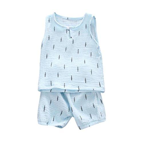 Säugling Babykleidung Hirolan Kinderkleidung Jungen Mädchen Blätter Drucken Weste Oberteile + Hosen Kleider Outfits Unisex Sweatshirts Hosen Ausstattungs Kleidungs (S, Blau)