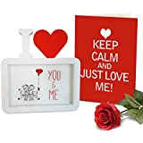 TiedRibbons® Karvachauth Gift Items Photo Frame With Greeting Card And Artificial Red Rose   Karwa Gift For Husband   Karwachauth Special Gifts For Husband   Karwachauth Special Gifts For Mens