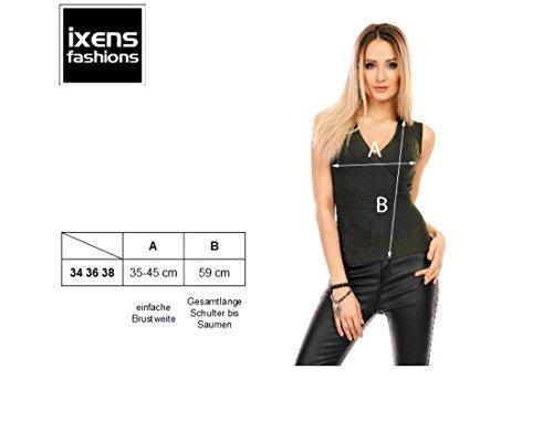 Damen Top, Kurzes Pulli Shirt in Feinripp, Wickel Optik und V-Ausschnitt 34-38 Khaki