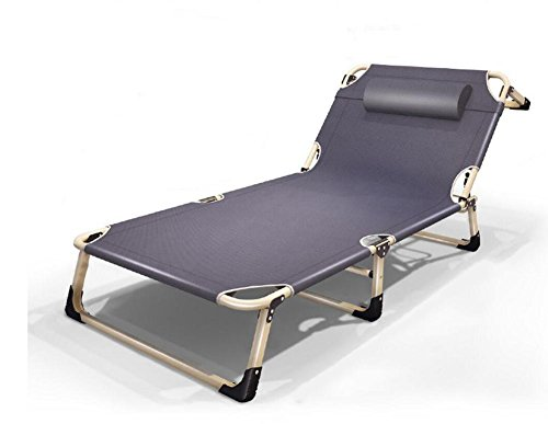 0-60 ° 4 Getriebe Einstellbar Falten Stuhl Liegestühle zum Camping Reise Büro Zuhause Stehlen Rahmen ca 193 * 68 * 32cm , Gray , 193*68*32cm (Marine-camping-stuhl)