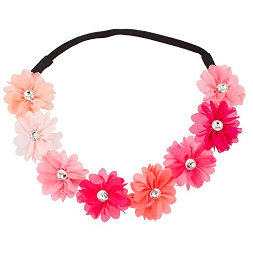 LUX Zubehör Multi Farbe Peach pink rainbow Floral Blume Kristall Stretch Stirnband Kopf Band (Baumwolle Rainbow Band)