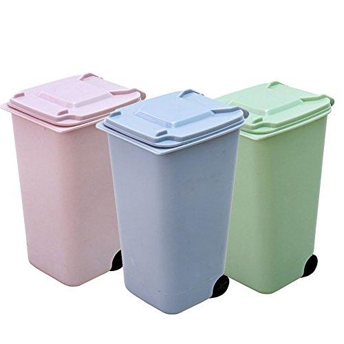 Kleine Mülleimer, favolook Cute Mini Kids Kunststoff Tisch Schreibtisch Garbage Can Abfalleimer Küche Mülleimer Aufbewahrungsbox abnehmbarer Deckel aus mit Bezug grün (Kleine Aufbewahrungsbox Kids)