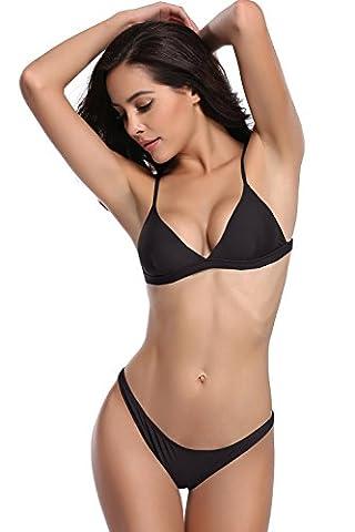 SHEKINI Damen Triangel Push-up Polster Bikini Set Gepolsterte Bademode Rückenfrei Badebekleidung Badeanzug (Medium, Schwarz)