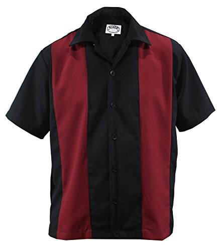 Bowling Shirt Worker Hemd Rockabilly Two Tone Gabardine lounge 50er Vintage Retro Double Panel (M / Medium, Schwarz / Rot) (Herren-vintage-bowling-shirt)