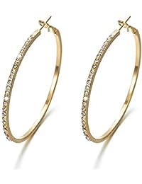 Jewels Galaxy Fascinating American Diamond Circular Sparkling Hoop Earrings For Women/Girls
