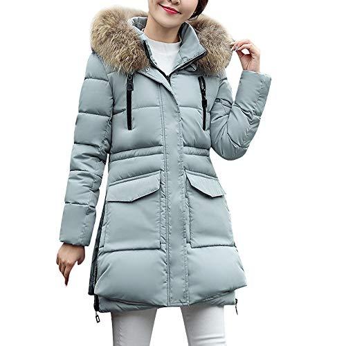 Damen Winterjacke Wintermantel Lang Daunenjacke Jacke Outwear Frauen Winter Warm Daunenmantel mit Kapuze Einfarbig Casual Dickeren Slim Fit...
