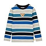 Steiff Jungen mit Streifen und Teddybärmotiv Sweatshirt, Blau (Black Iris 3032),(Herstellergröße:104)