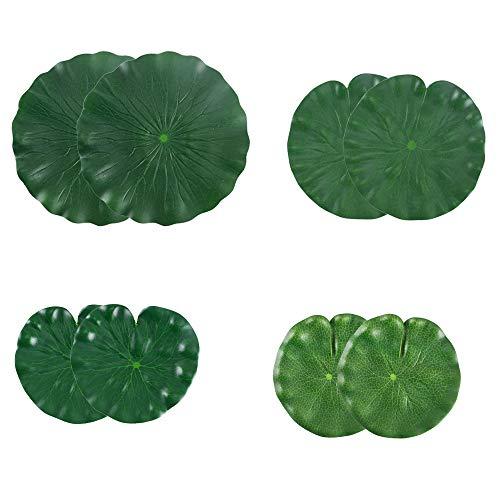 HUAESIN 8pcs Künstliche Teichpflanze Lotusblätter Schwimmende Floating Lotusblatt Lotus Blätter für Garten Fischteich Wasser Landschaft Aquarium Teich Dekoration (Grün)