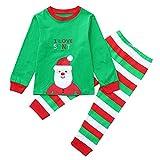 POLP Niño Navidad Bebe Ropa Disfraz Navidad Bebe Navidad Regalo Conjunto de Pantalones Estampados de Manga Larga a Rayas de Trajes Bebe Invierno Tops y Pantalones Gorro Invierno Bebe