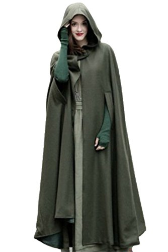 RedJade Umhänge Cape Damen mit Kapuze Lang Abendkleid Cosplay Kostüm Grün S