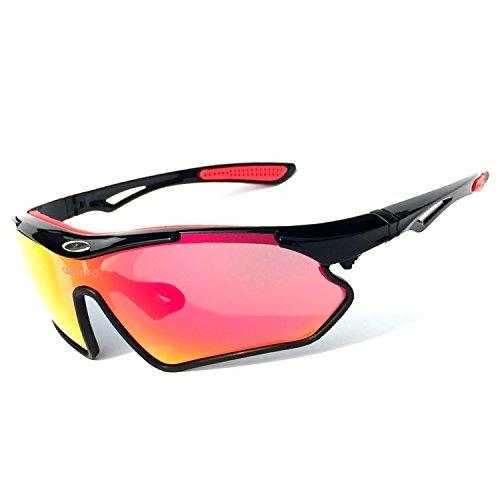 Hcmax occhiali da sole sportivi polarizzati protezione uv400 per uomini donne ciclismo equitazione in esecuzione pesca occhiali da golf per mtb,bici,moto,trekking casual