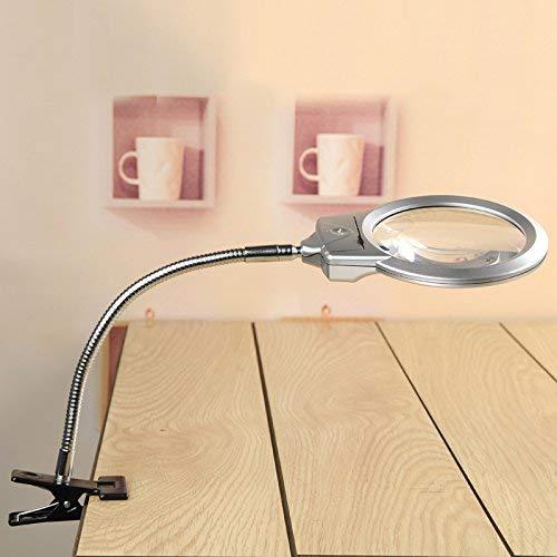 Rightwell Lupenleuchte Tisch Lupe Lampe mit 2 LED Lichters-2X,6X Klemmlupe mit der Starken Klammer Einem Tisch befestigen es zum Lesen,aber auch für handwerkliche Arbeiten - 2