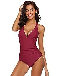 Meaner Fashion Origin Damen rückenfrei Swimwear Badeanzug Einteiliger  Schwimmanzug Schlankheits bauchweg badeanzüge… 4e8f3af58c
