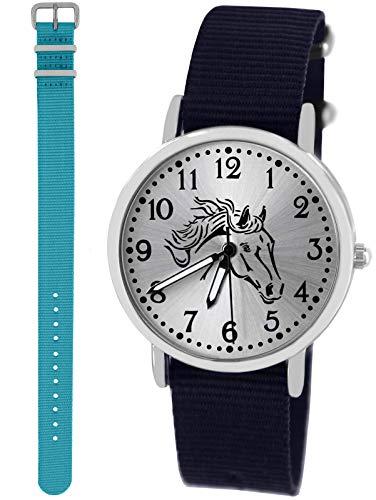 n Uhr Analog Quarz mit 2 Textilarmband 10417 blau hellblau ()