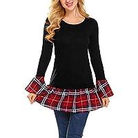 Luckycat Sudadera A Cuadros De Mujer, Jersey De Patchwork Suelto De Manga Larga Casual Sweatshirt