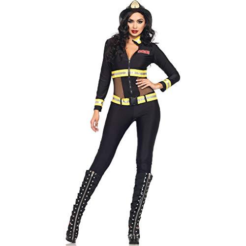 Kostüm Feuerwehrmann Weibliche - QWEASZER Halloween Feuer Alarm kostüm Cosplay sexy cos weibliche feuerwehrmann Clothing bar Nachtclubs Club Party Dance bühne Performance kostüme,Black-OneSize