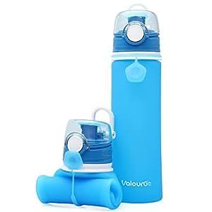 Valourgo Faltbare Wasserflasche mit Leck Sicherheitsventil - BPA Freies Silikon-Flasche Squeezy Trinkflasche für Sport Reisen Radfahren Camping – 600 Ml