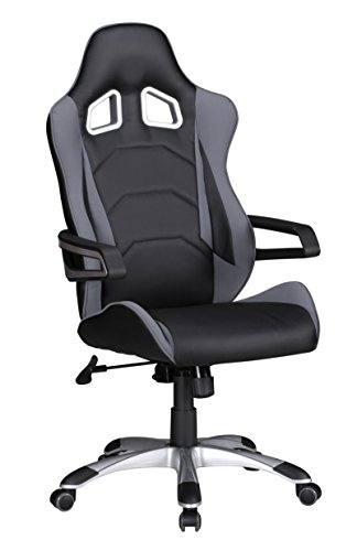 Amstyle Bürostuhl Speed Grau Schwarz Gaming Chefsessel mit