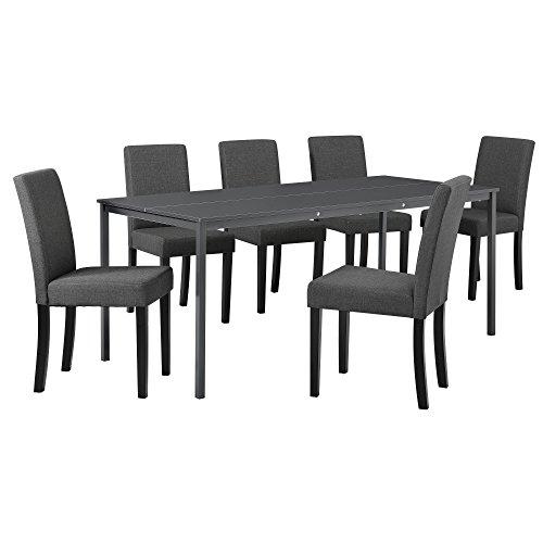[en.casa] Hochwertiger Esstisch in dunkelgrau mit 6 dunkelgrauen Designer-Stühlen - 180cm x 80cm