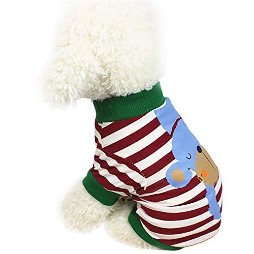 Kostüm Hunde Business - EUZeo Niedliches Tier gestreiftes Sommer Hundekleidung T-Shirt Welpen Kostüm Katze Hund Pullover Kleine Wasserdichte Haustier Hund Katze Haustierpullover Hundebekleidung Hundeshirts
