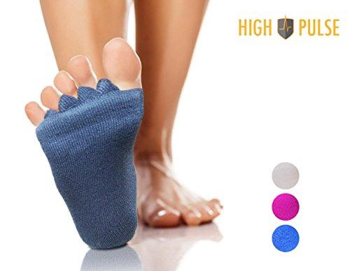 High Pulse Zehenspreizer Socken (1 Paar | Einheitsgröße) – Die sanfte Entspannung bei Hallux Valgus und Zehenfehlstellungen (Grau)