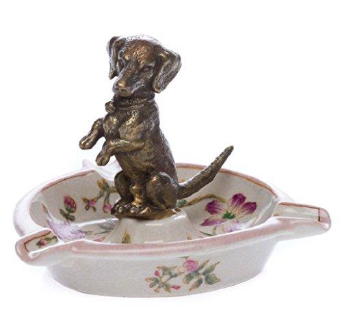 Porzellan Aschenbecher Hund Dackel Verzierungen antik Stil porcelain ashtry -
