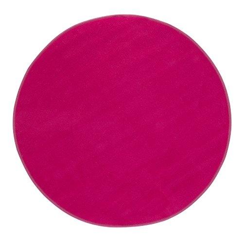 misento Teppich Velours Kurzflorteppich weich Wohnzimmer Schlafzimmer Flur Essbereich 100 cm rund, pink -