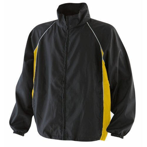 Finden & Hales Piped Showerproof Training Jacket Black/Yellow/White