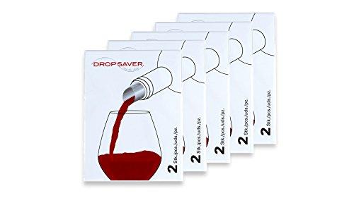 DROPSAVER stop the drop (5 x 2er-Packung) - Weinausgießer, Flaschenausgießer, tropffrei Ausgießer