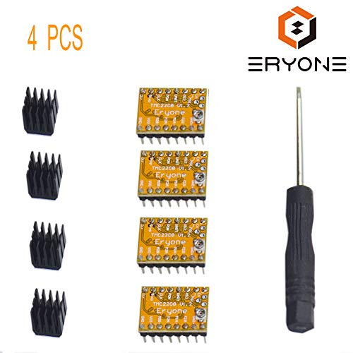 TMC2208 3D Drucker Stepstick Stepper Motor Driver, Eryone 4 Pcs TMC2208 Stepper Driver Module Packed with Heat Sink Screwdriver for 3D Drucker Mother Boards Reprap MKS Prusa and More, Yellow -